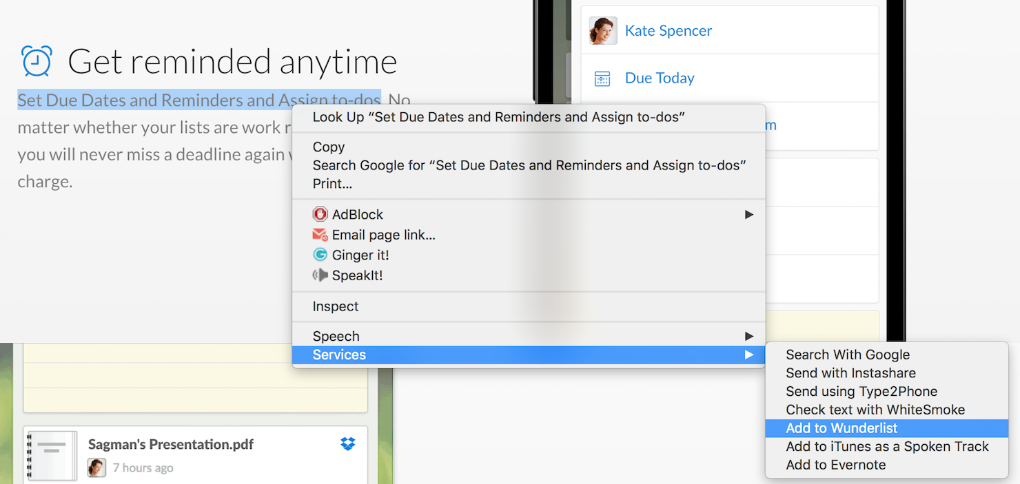Add Task to Wunderlist with Automator Service
