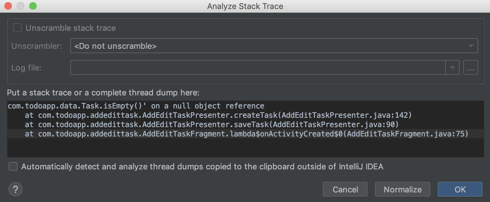 Android: Analyze Stack Trace from Plain Text Log